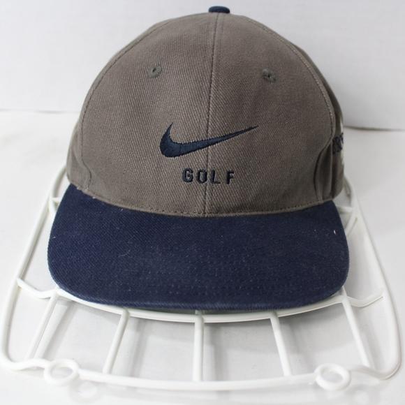 Vintage 90s NIKE Golf Strap Back Dad Hat Gray Blue 9d29967b1414